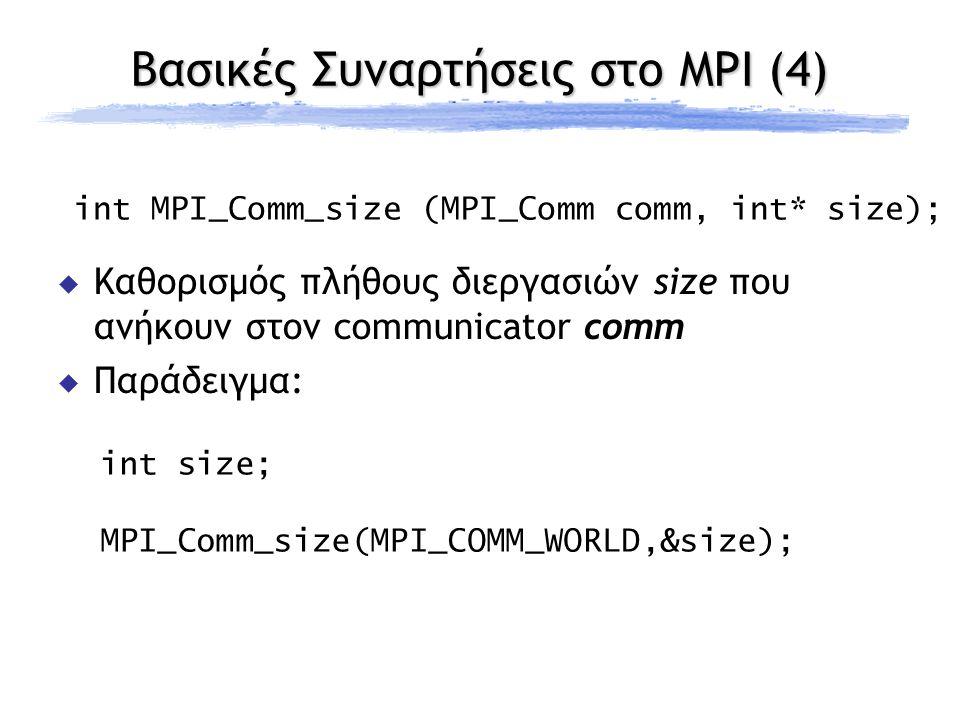 Βασικές Συναρτήσεις στο MPI (4) int MPI_Comm_size (MPI_Comm comm, int* size);  Καθορισμός πλήθους διεργασιών size που ανήκουν στον communicator comm  Παράδειγμα: int size; MPI_Comm_size(MPI_COMM_WORLD,&size);