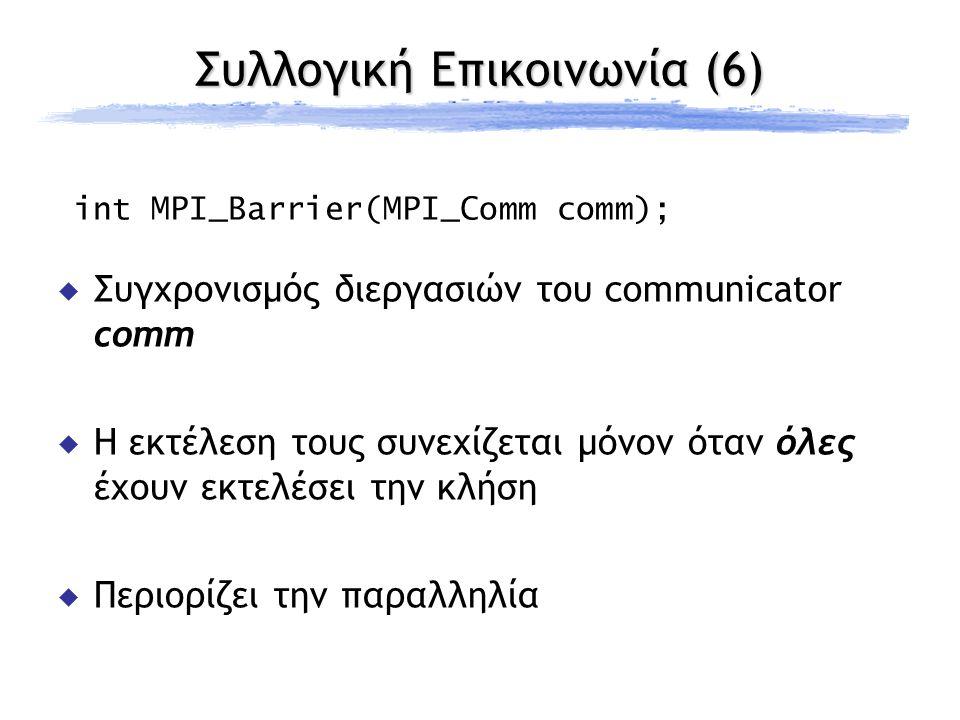 Συλλογική Επικοινωνία (6) int MPI_Barrier(MPI_Comm comm);  Συγχρονισμός διεργασιών του communicator comm  Η εκτέλεση τους συνεχίζεται μόνον όταν όλες έχουν εκτελέσει την κλήση  Περιορίζει την παραλληλία