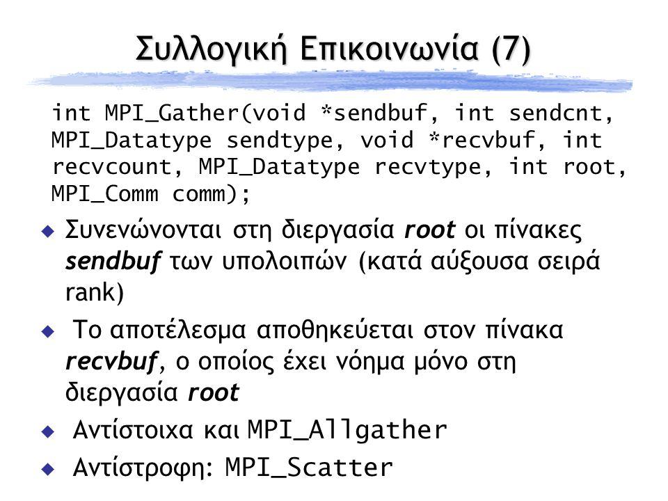 Συλλογική Επικοινωνία (7) int MPI_Gather(void *sendbuf, int sendcnt, MPI_Datatype sendtype, void *recvbuf, int recvcount, MPI_Datatype recvtype, int root, MPI_Comm comm);  Συνενώνονται στη διεργασία root οι πίνακες sendbuf των υπολοιπών (κατά αύξουσα σειρά rank)  Το αποτέλεσμα αποθηκεύεται στον πίνακα recvbuf, ο οποίος έχει νόημα μόνο στη διεργασία root  Αντίστοιχα και MPI_Allgather  Αντίστροφη: MPI_Scatter