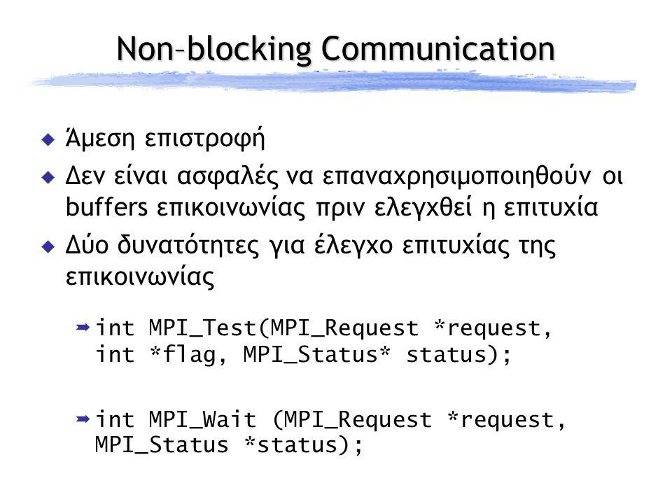 Non–blocking Communication  Άμεση επιστροφή  Δεν είναι ασφαλές να επαναχρησιμοποιηθούν οι buffers επικοινωνίας πριν ελεγχθεί η επιτυχία  Δύο δυνατότητες για έλεγχο επιτυχίας της επικοινωνίας int MPI_Test(MPI_Request *request, int *flag, MPI_Status* status); int MPI_Wait (MPI_Request *request, MPI_Status *status);