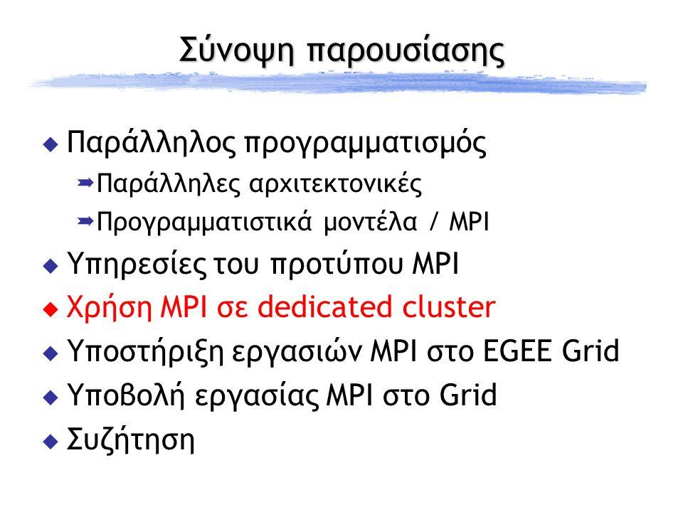 Σύνοψη παρουσίασης  Παράλληλος προγραμματισμός  Παράλληλες αρχιτεκτονικές  Προγραμματιστικά μοντέλα / MPI  Υπηρεσίες του προτύπου MPI  Χρήση MPI σε dedicated cluster  Υποστήριξη εργασιών MPI στο EGEE Grid  Υποβολή εργασίας MPI στο Grid  Συζήτηση