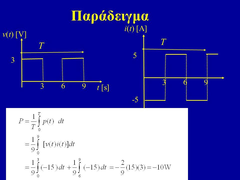 Παράδειγμα t [s] v(t) [V] 6 3 3 9 T i(t) [A] 6 3 5 9 -5 T