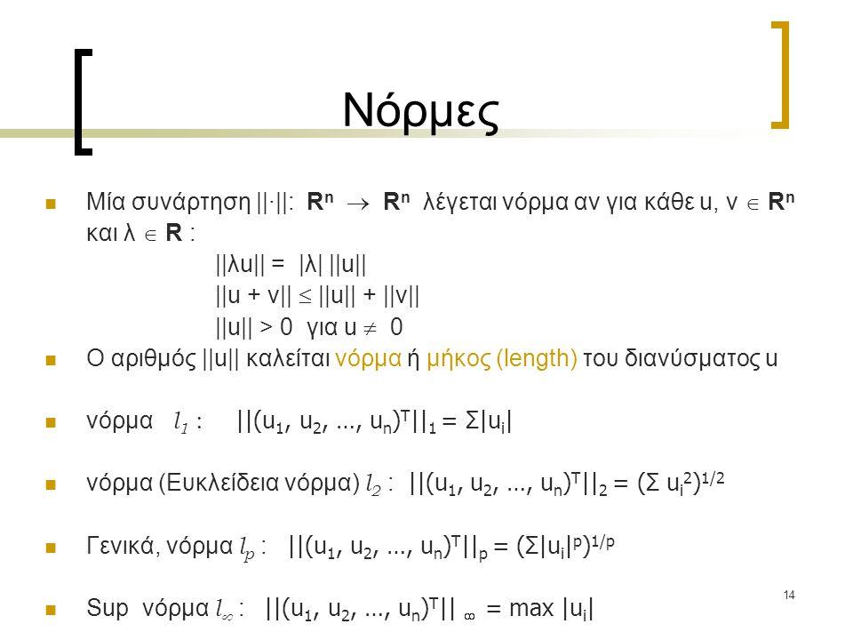 14 Νόρμες Μία συνάρτηση ||·||: R n  R n λέγεται νόρμα αν για κάθε u, v  R n και λ  R : ||λu|| = |λ| ||u|| ||u + v||  ||u|| + ||v|| ||u|| > 0 για u