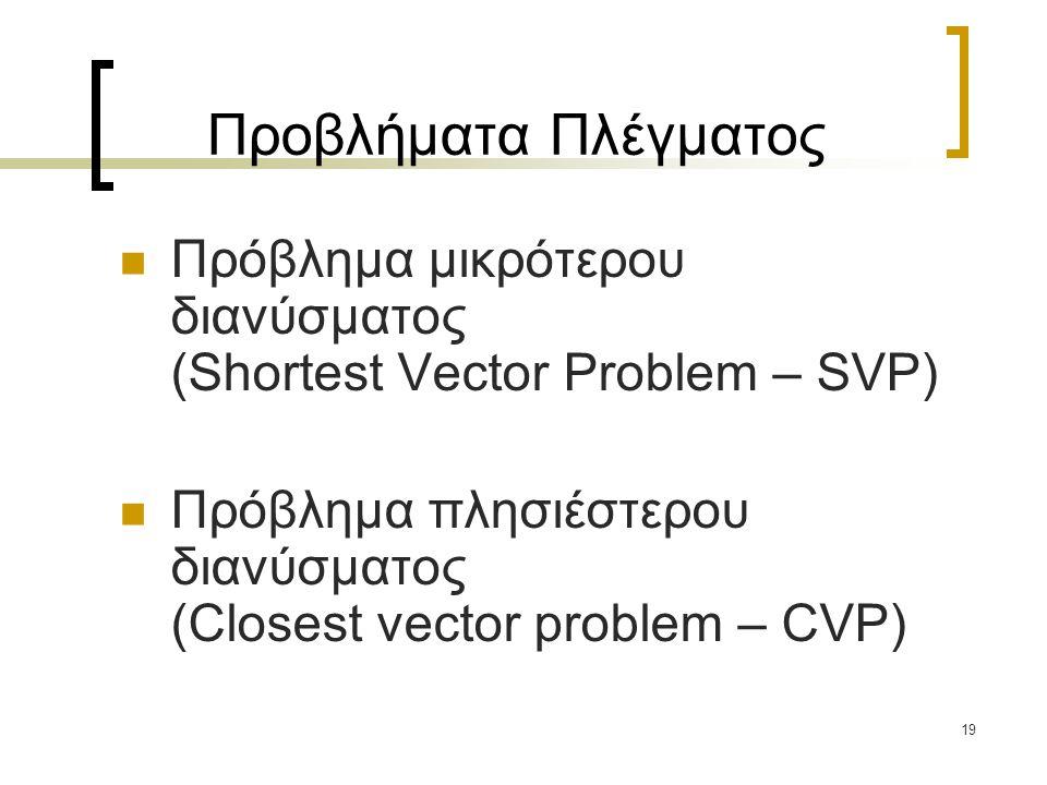19 Προβλήματα Πλέγματος Πρόβλημα μικρότερου διανύσματος (Shortest Vector Problem – SVP) Πρόβλημα πλησιέστερου διανύσματος (Closest vector problem – CV