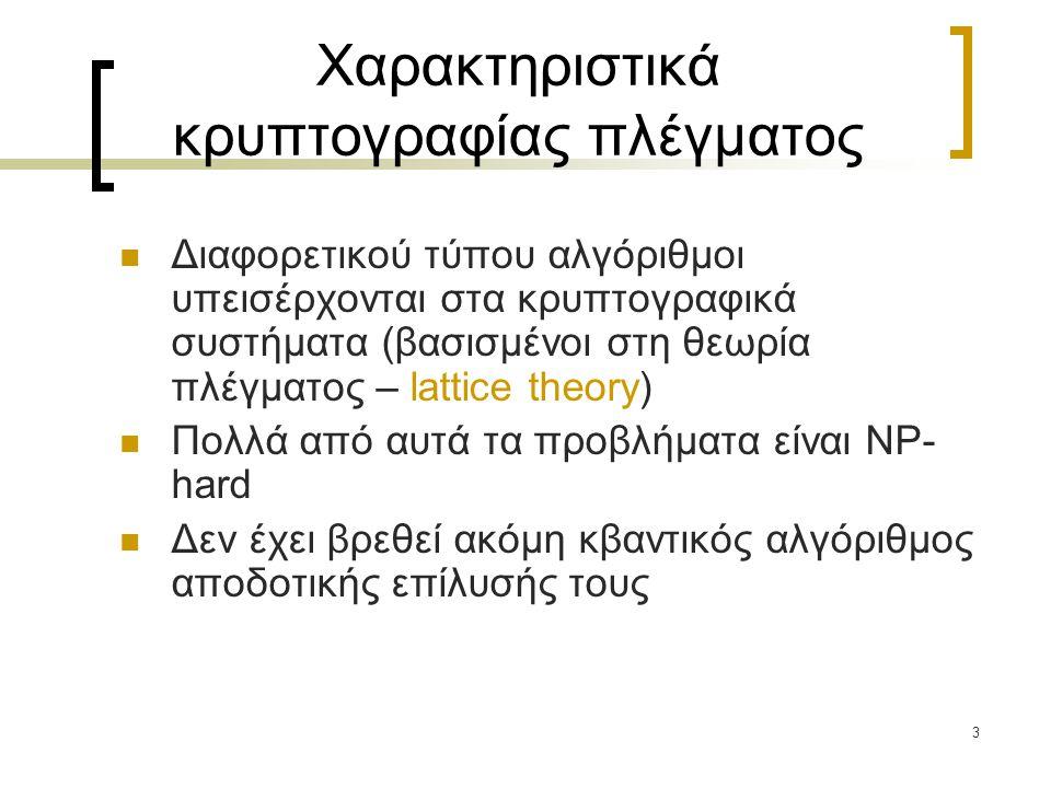 54 NTRU - κρυπτογράφηση Αποστολή μηνύματος χρησιμοποιώντας το δημόσιο κλειδί h:  Το μήνυμα m δίνεται σαν ένα πολυώνυμο με συντελεστές στο {-1, 0, 1}  επιλογή τυχαία ενός άλλου μικρού πολυώνυμου r, το οποίο καλείται «τιμή τύφλωσης», καθώς «σκεπάζει» το μήνυμα  Το κρυπτόγραμμα είναι το πολυώνυμο c = m + r  h mod q