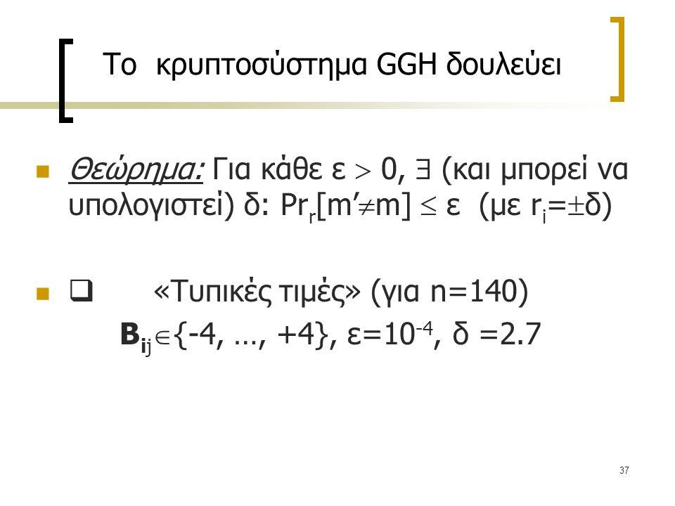 37 Το κρυπτοσύστημα GGH δουλεύει Θεώρημα: Για κάθε ε  0,  (και μπορεί να υπολογιστεί) δ: Pr r [m'  m]  ε (με r i =  δ)  «Τυπικές τιμές» (για n=1