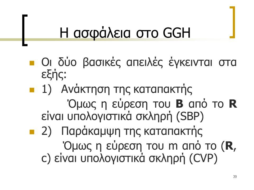 39 Η ασφάλεια στο GGH Οι δύο βασικές απειλές έγκεινται στα εξής: 1) Ανάκτηση της καταπακτής Όμως η εύρεση του B από το R είναι υπολογιστικά σκληρή (SB
