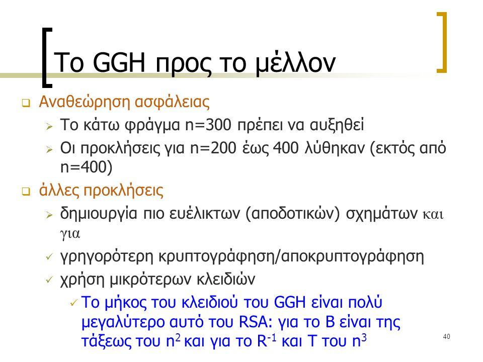 40 Το GGH προς το μέλλον  Αναθεώρηση ασφάλειας  Το κάτω φράγμα n=300 πρέπει να αυξηθεί  Οι προκλήσεις για n=200 έως 400 λύθηκαν (εκτός από n=400) 