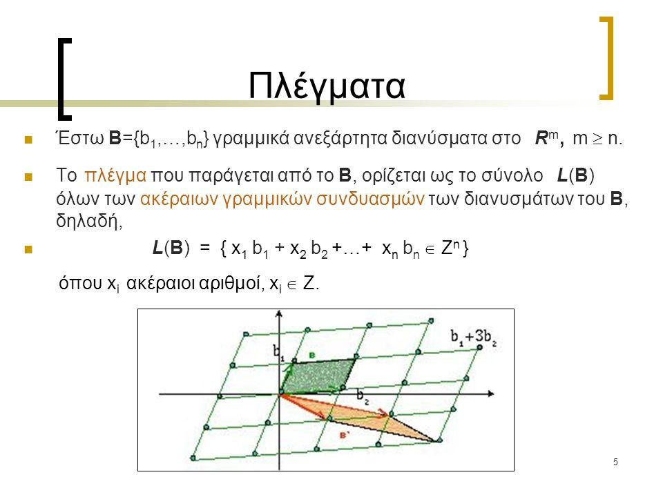 5 Πλέγματα Έστω B={b 1,…,b n } γραμμικά ανεξάρτητα διανύσματα στο R m, m  n. Το πλέγμα που παράγεται από το B, ορίζεται ως το σύνολο L(B) όλων των ακ