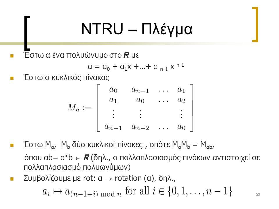 59 NTRU – Πλέγμα Έστω α ένα πολυώνυμο στο R με α = α 0 + α 1 x +…+ α n-1 x n-1 Έστω ο κυκλικός πίνακας Έστω M α, M b δύο κυκλικοί πίνακες, οπότε M α M