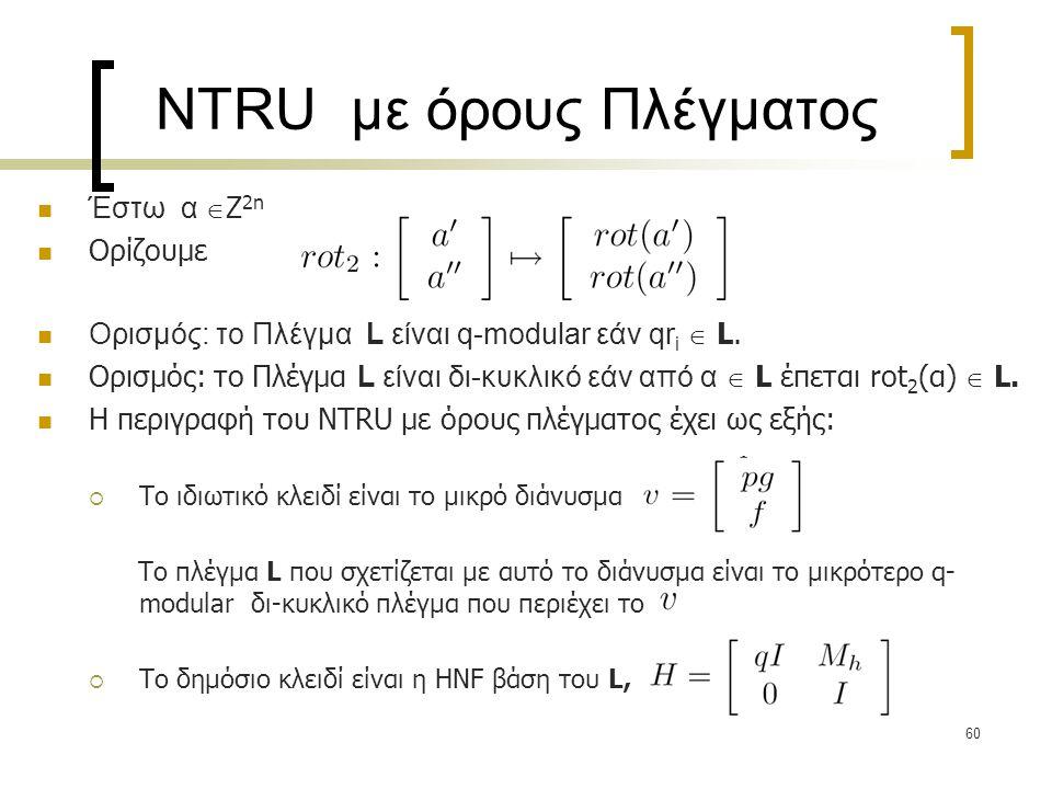 60 NTRU με όρους Πλέγματος Έστω α  Ζ 2n Ορίζουμε Ορισμός: το Πλέγμα L είναι q-modular εάν qr i  L. Ορισμός: το Πλέγμα L είναι δι-κυκλικό εάν από α 
