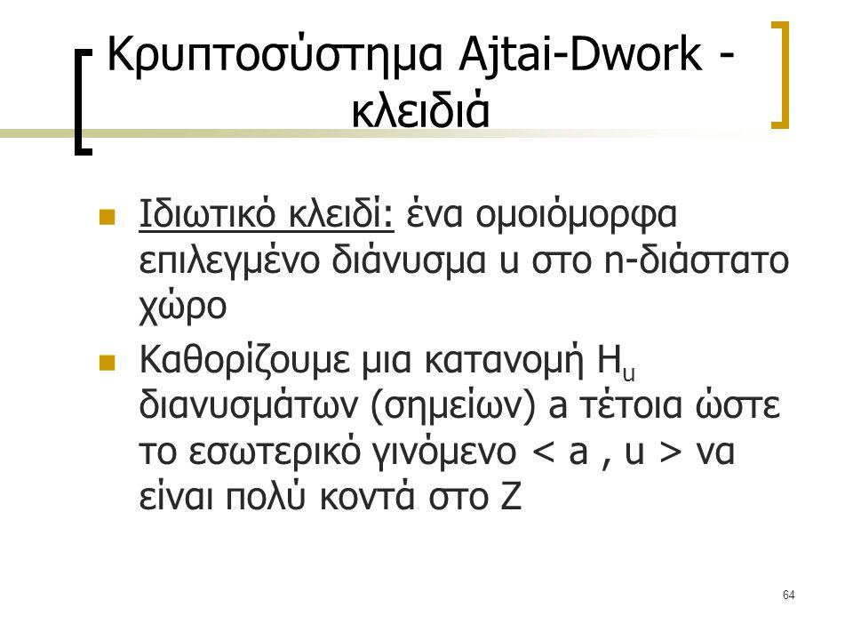 64 Κρυπτοσύστημα Ajtai-Dwork - κλειδιά Ιδιωτικό κλειδί: ένα ομοιόμορφα επιλεγμένο διάνυσμα u στο n-διάστατο χώρο Καθορίζουμε μια κατανομή H u διανυσμά