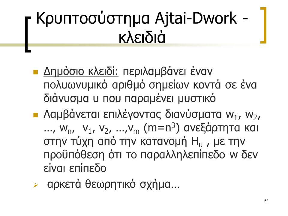 65 Κρυπτοσύστημα Ajtai-Dwork - κλειδιά Δημόσιο κλειδί: περιλαμβάνει έναν πολυωνυμικό αριθμό σημείων κοντά σε ένα διάνυσμα u που παραμένει μυστικό Λαμβ