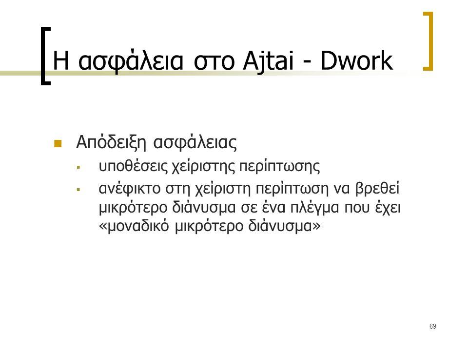 69 Η ασφάλεια στο Ajtai - Dwork Απόδειξη ασφάλειας  υποθέσεις χείριστης περίπτωσης  ανέφικτο στη χείριστη περίπτωση να βρεθεί μικρότερο διάνυσμα σε