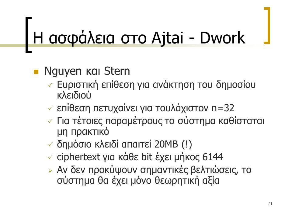 71 Η ασφάλεια στο Ajtai - Dwork Nguyen και Stern Ευριστική επίθεση για ανάκτηση του δημοσίου κλειδιού επίθεση πετυχαίνει για τουλάχιστον n=32 Για τέτο