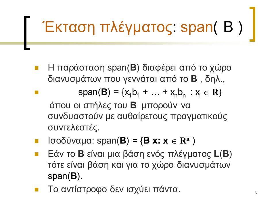 8 Έκταση πλέγματος: span( B ) Η παράσταση span(B) διαφέρει από το χώρο διανυσμάτων που γεννάται από το Β, δηλ., span(B) = {x 1 b 1 + … + x n b n : x i