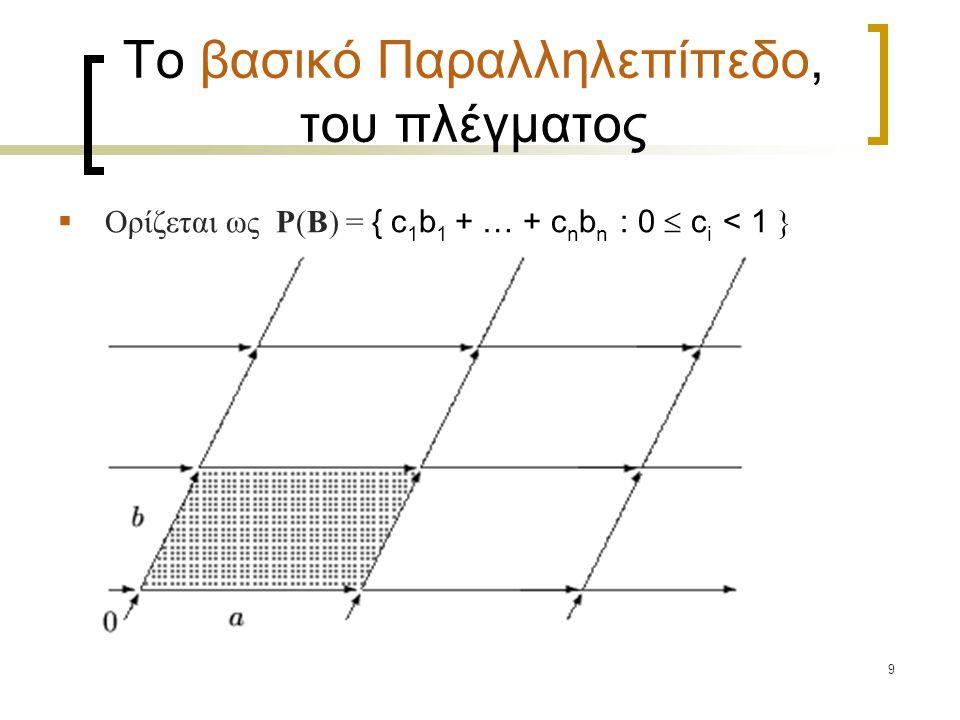 9 Tο βασικό Παραλληλεπίπεδο, του πλέγματος  Ορίζεται ως P(B) = { c 1 b 1 + … + c n b n : 0  c i < 1 }