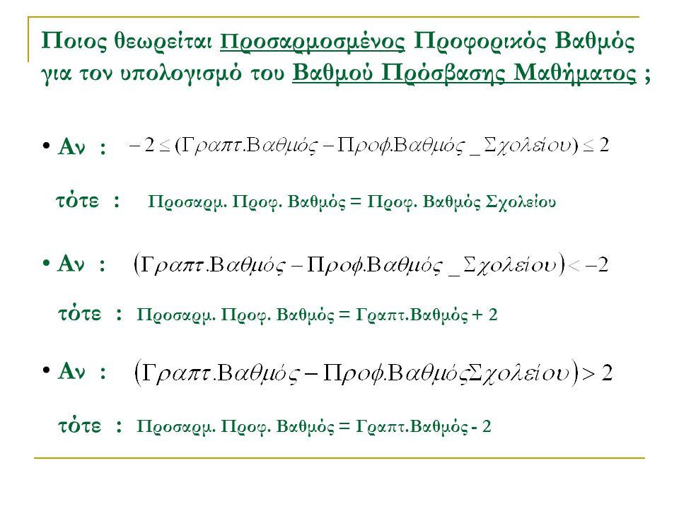 Ποιος θεωρείται Π ροσαρμοσμένος Προφορικός Βαθμός για τον υπολογισμό του Βαθμού Πρόσβασης Μαθήματος ; Αν : τότε : Προσαρμ. Προφ. Βαθμός = Προφ. Βαθμός