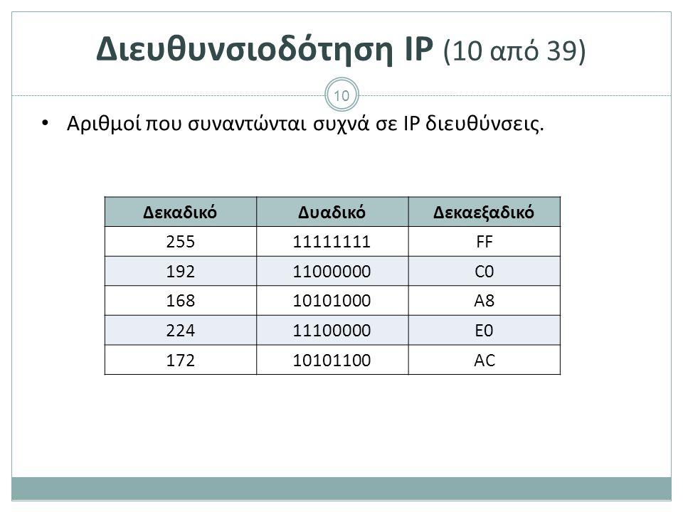 11 Διευθυνσιοδότηση IP (11 από 39) Όπως οι τηλεφωνικοί αριθμοί μιας περιοχής έχουν κοινά τα πρώτα ψηφία και διαφοροποιούνται στα υπόλοιπα, έτσι και οι διευθύνσεις IP των συσκευών ενός τοπικού δικτύου θα έχουν κοινά κάποια από τα πιο σημαντικά bits και θα διαφοροποιούνται στα υπόλοιπα.