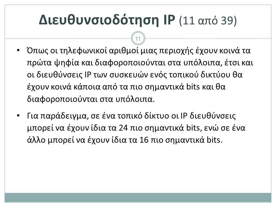 12 Διευθυνσιοδότηση IP (12 από 39) Το πλήθος των κοινών bits των IP διευθύνσεων σε ένα τοπικό δίκτυο καθορίζεται από το μήκος προθέματος (prefix length).