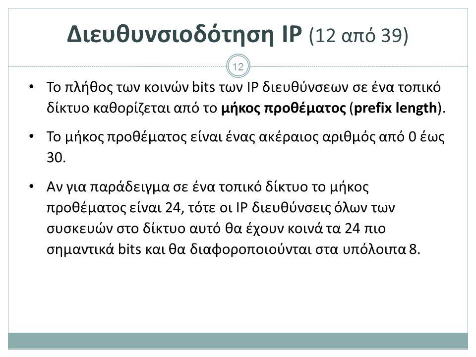 13 Διευθυνσιοδότηση IP (13 από 39) Συνήθως, όταν αποδίδεται IP διεύθυνση σε μία συσκευή καθορίζεται και το μήκος προθέματος L στη μορφή IP/L.