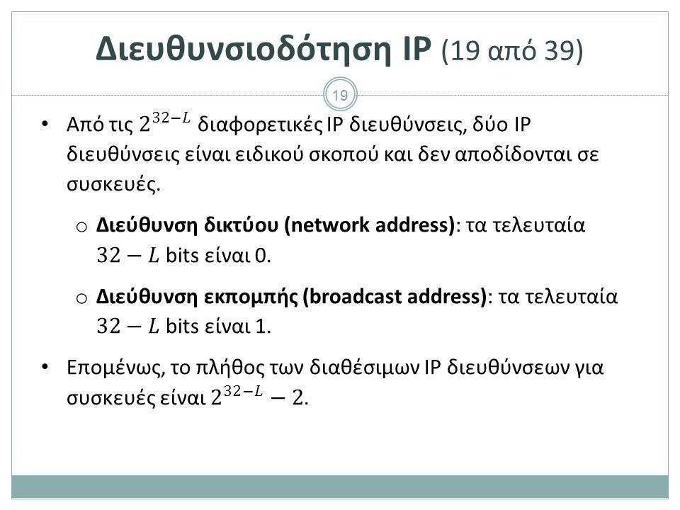 20 Διευθυνσιοδότηση IP (20 από 39) Η διεύθυνση δικτύου προσδιορίζει συνολικά ένα τοπικό δίκτυο, όπως για παράδειγμα τα κτίρια σε μία οδό προσδιορίζονται από το όνομα της οδού.