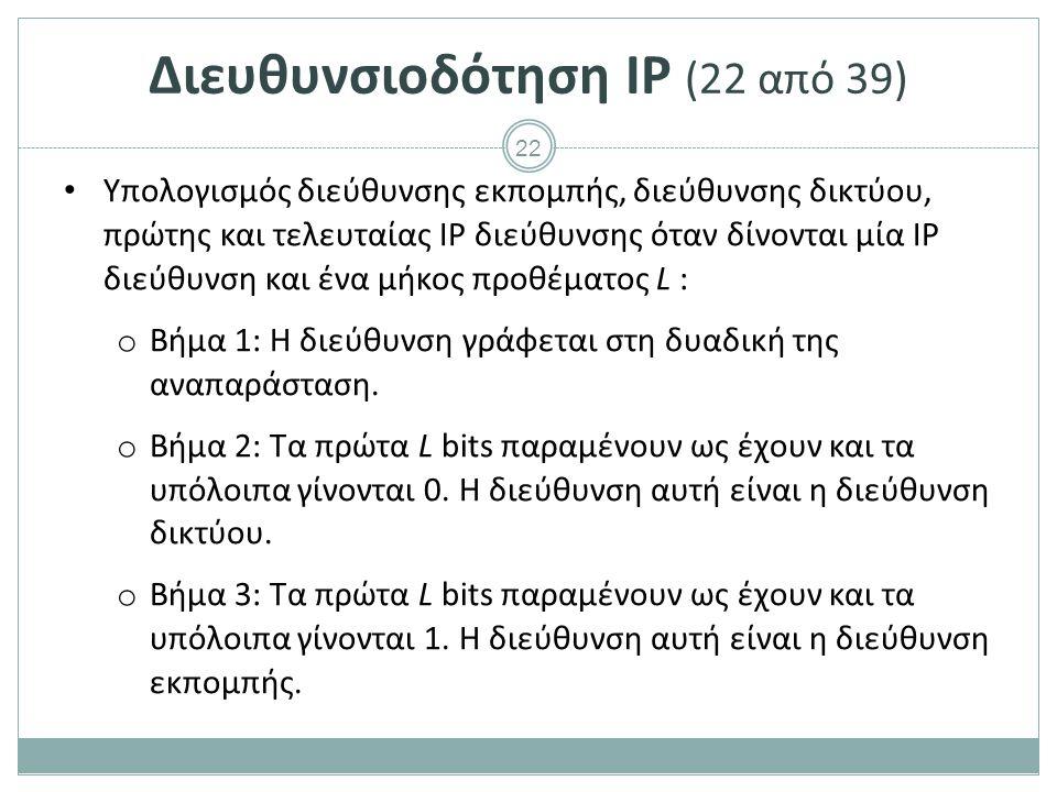 23 Διευθυνσιοδότηση IP (23 από 39) Υπολογισμός διεύθυνσης εκπομπής, διεύθυνσης δικτύου, πρώτης και τελευταίας IP διεύθυνσης όταν δίνονται μία IP διεύθυνση και ένα μήκος προθέματος L: o Βήμα 4: Η αμέσως επόμενη διεύθυνση της διεύθυνσης δικτύου είναι η πρώτη διαθέσιμη για συσκευές.