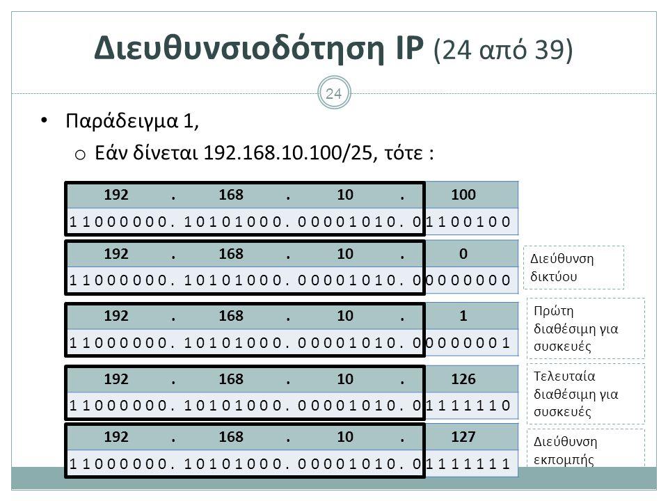 25 192.168.5.11 11000000.10101000.00000101.00001011 Διευθυνσιοδότηση IP (25 από 39) Παράδειγμα 2, o Εάν δίνεται 192.168.5.11/28, τότε : Διεύθυνση δικτύου Διεύθυνση εκπομπής Πρώτη διαθέσιμη για συσκευές Τελευταία διαθέσιμη για συσκευές 192.168.5.0 11000000.10101000.00000101.00000000 192.168.5.15 11000000.10101000.00000101.00001111 192.168.5.1 11000000.10101000.00000101.00000001 192.168.5.14 11000000.10101000.00000101.00001110
