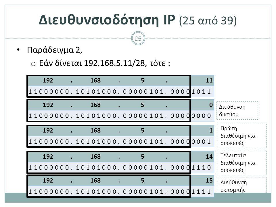 26 147.102.5.132 10010011.01100110.00000101.10000100 Διευθυνσιοδότηση IP (26 από 39) Παράδειγμα 3, o Εάν δίνεται 147.102.5.132/20, τότε : Διεύθυνση δικτύου Διεύθυνση εκπομπής Πρώτη διαθέσιμη για συσκευές Τελευταία διαθέσιμη για συσκευές 147.102.0.0 10010011.01100110.00000000.00000000 147.102.15.255 10010011.01100110.00001111.11111111 147.102.0.1 10010011.01100110.00000000.00000001 147.102.15.254 10010011.01100110.00001111.11111110