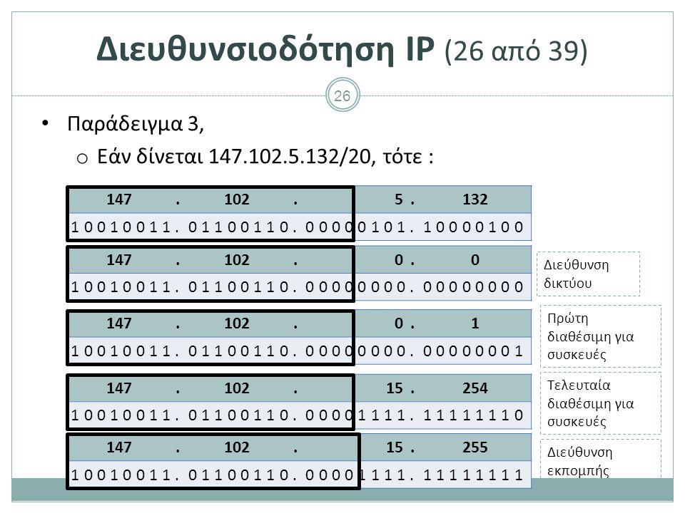 27 Διευθυνσιοδότηση IP (27 από 39) Παράδειγμα Έστω ένα τοπικό δίκτυο με 15 συσκευές.