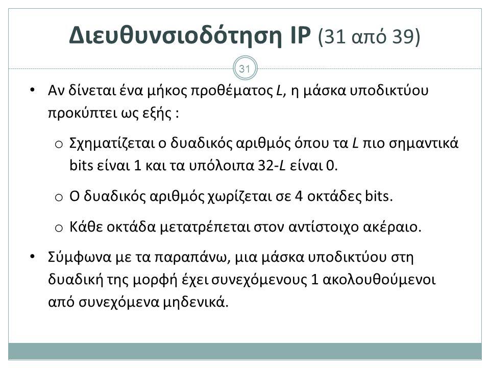 32 Διευθυνσιοδότηση IP (32 από 39) Παραδείγματα o Μήκος προθέματος 24 11111111.11111111.11111111.00000000 255.