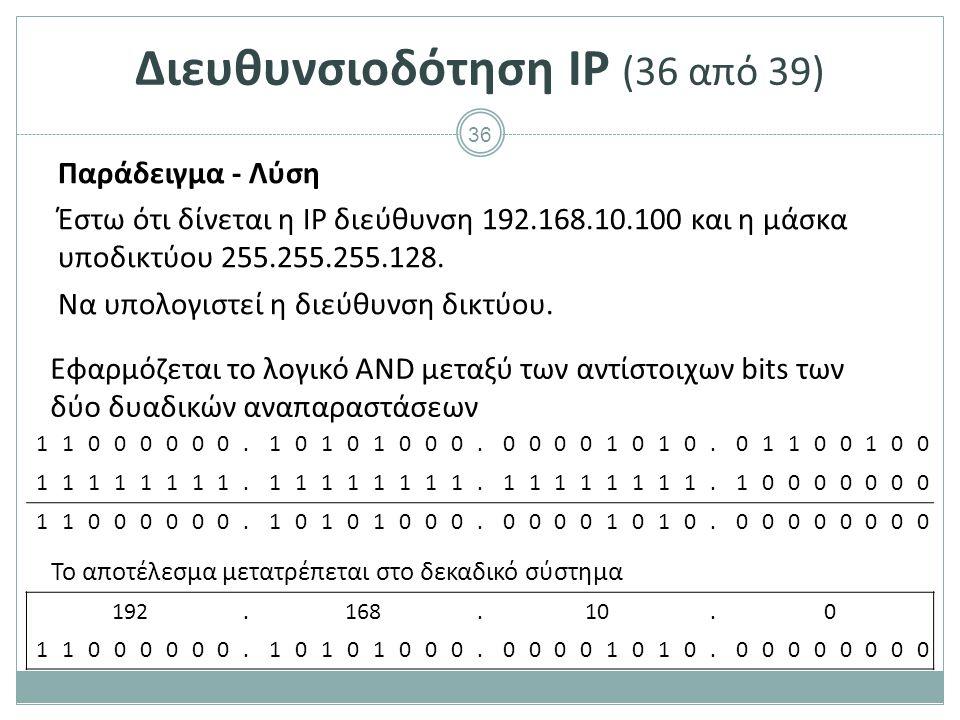 37 Διευθυνσιοδότηση IP (37 από 39) Άσκηση 3 1)Πως μπορεί να υπολογιστεί η διεύθυνση εκπομπής με χρήση της μάσκας υποδικτύου; 2)Να δειχθεί η διαδικασία με αριθμητικό παράδειγμα.
