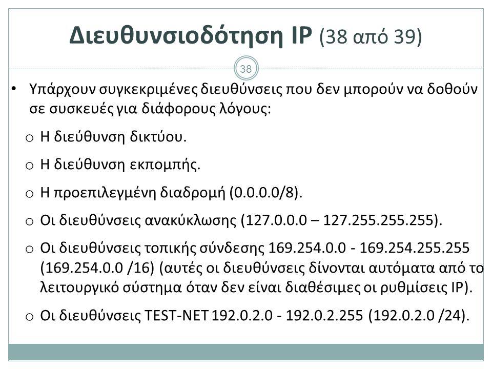 39 Διευθυνσιοδότηση IP (39 από 39) Ρύθμιση IP διεύθυνσης σε υπολογιστή.