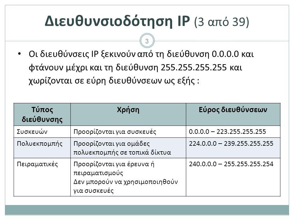 4 Διευθυνσιοδότηση IP (4 από 39) Οι διευθύνσεις IP χωρίζονται σε : o Δημόσιες (public) Είναι η IP με την οποία φαίνεται μία συσκευή στο διαδίκτυο.