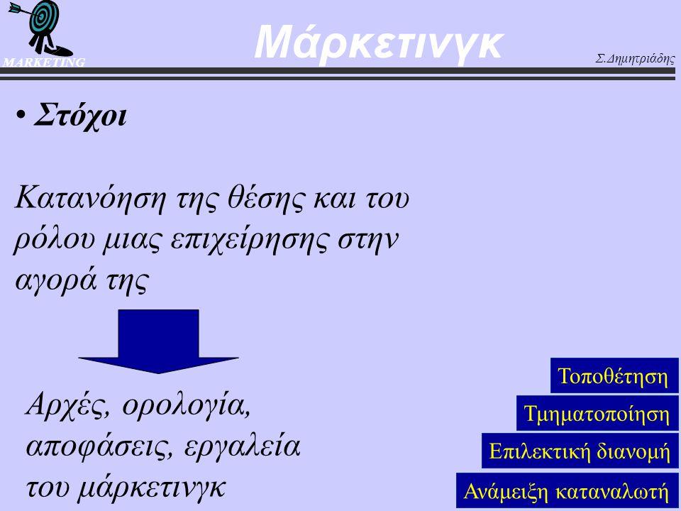 Σ.Δημητριάδης MARKETING Στόχοι Κατανόηση της θέσης και του ρόλου μιας επιχείρησης στην αγορά της Τοποθέτηση Τμηματοποίηση Επιλεκτική διανομή Ανάμειξη