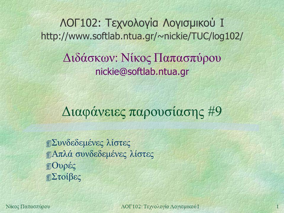 ΛΟΓ102: Τεχνολογία Λογισμικού Ι nickie@softlab.ntua.gr Διδάσκων: Νίκος Παπασπύρου http://www.softlab.ntua.gr/~nickie/TUC/log102/ 1Νίκος ΠαπασπύρουΛΟΓ102: Τεχνολογία Λογισμικού Ι Διαφάνειες παρουσίασης #9 4 Συνδεδεμένες λίστες 4 Απλά συνδεδεμένες λίστες 4 Ουρές 4 Στοίβες