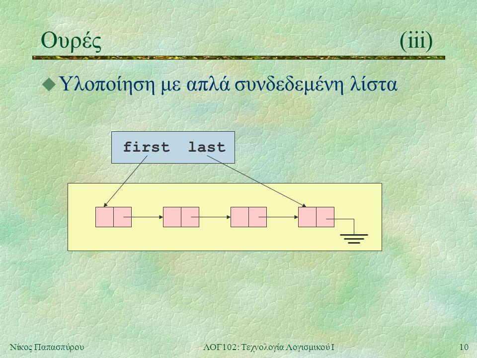 10Νίκος ΠαπασπύρουΛΟΓ102: Τεχνολογία Λογισμικού Ι Ουρές(iii) u Υλοποίηση με απλά συνδεδεμένη λίστα firstlast
