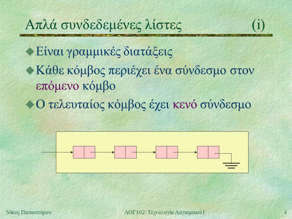 4Νίκος ΠαπασπύρουΛΟΓ102: Τεχνολογία Λογισμικού Ι Απλά συνδεδεμένες λίστες(i) u Είναι γραμμικές διατάξεις u Κάθε κόμβος περιέχει ένα σύνδεσμο στον επόμενο κόμβο u Ο τελευταίος κόμβος έχει κενό σύνδεσμο