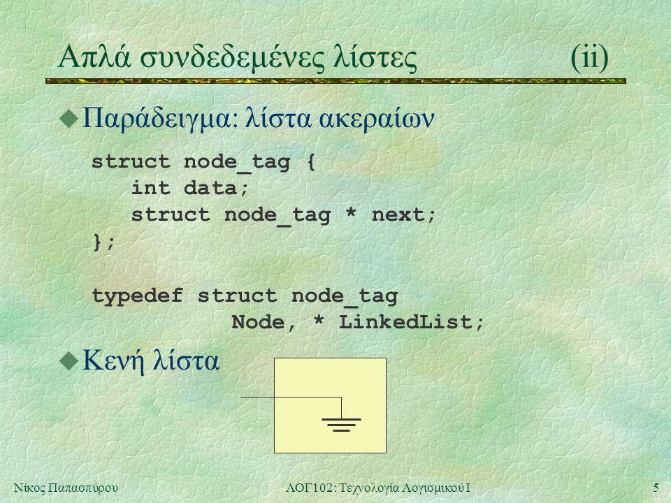 5Νίκος ΠαπασπύρουΛΟΓ102: Τεχνολογία Λογισμικού Ι Απλά συνδεδεμένες λίστες(ii) u Παράδειγμα: λίστα ακεραίων struct node_tag { int data; struct node_tag * next; }; typedef struct node_tag Node, * LinkedList; u Κενή λίστα