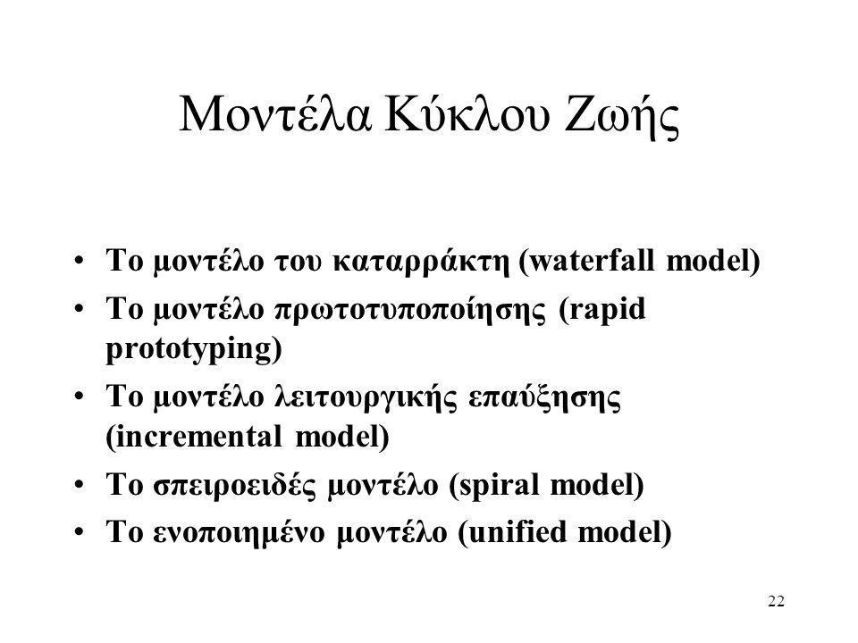 22 Μοντέλα Κύκλου Ζωής Το µοντέλο του καταρράκτη (waterfall model) Το µοντέλο πρωτοτυποποίησης (rapid prototyping) Το µοντέλο λειτουργικής επαύξησης (