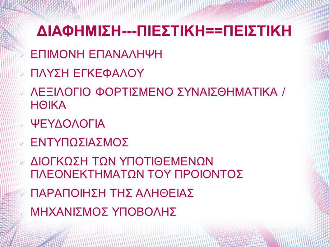 ΔΙΑΦΗΜΙΣΗ---ΠΙΕΣΤΙΚΗ==ΠΕΙΣΤΙΚΗ ΕΠΙΜΟΝΗ ΕΠΑΝΑΛΗΨΗ ΠΛΥΣΗ ΕΓΚΕΦΑΛΟΥ ΛΕΞΙΛΟΓΙΟ ΦΟΡΤΙΣΜΕΝΟ ΣΥΝΑΙΣΘΗΜΑΤΙΚΑ / ΗΘΙΚΑ ΨΕΥΔΟΛΟΓΙΑ ΕΝΤΥΠΩΣΙΑΣΜΟΣ ΔΙΟΓΚΩΣΗ ΤΩΝ ΥΠΟ