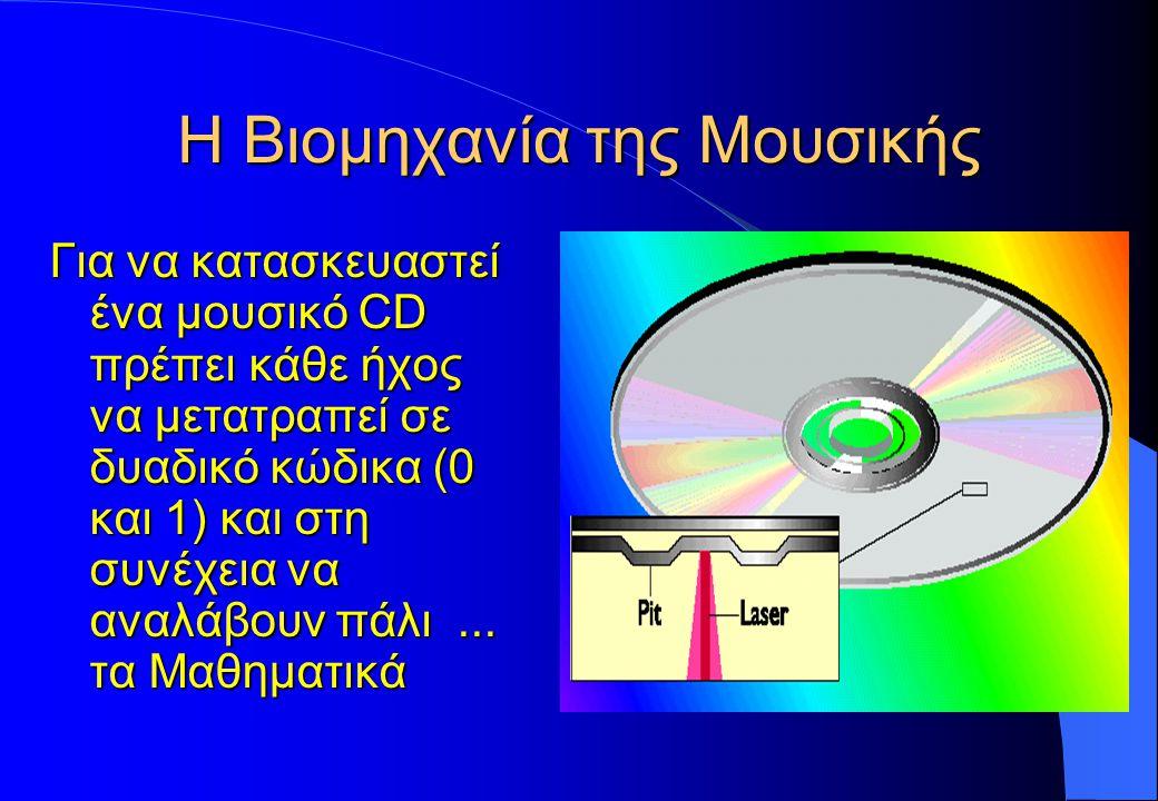 Η Βιομηχανία της Μουσικής Για να κατασκευαστεί ένα μουσικό CD πρέπει κάθε ήχος να μετατραπεί σε δυαδικό κώδικα (0 και 1) και στη συνέχεια να αναλάβουν