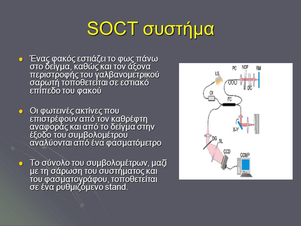 SOCT συστήμα Ένας φακός εστιάζει το φως πάνω στο δείγμα, καθώς και τον άξονα περιστροφής του γαλβανομετρικού σαρωτή τοποθετείται σε εστιακό επίπεδο του φακού Ένας φακός εστιάζει το φως πάνω στο δείγμα, καθώς και τον άξονα περιστροφής του γαλβανομετρικού σαρωτή τοποθετείται σε εστιακό επίπεδο του φακού Οι φωτεινές ακτίνες που επιστρέφουν από τον καθρέφτη αναφοράς και από το δείγμα στην έξοδο του συμβολομέτρου αναλύονται από ένα φασματόμετρο Οι φωτεινές ακτίνες που επιστρέφουν από τον καθρέφτη αναφοράς και από το δείγμα στην έξοδο του συμβολομέτρου αναλύονται από ένα φασματόμετρο Το σύνολο του συμβολομέτρων, μαζί με τη σάρωση του συστήματος και του φασματογράφου, τοποθετείται σε ένα ρυθμιζόμενο stand.