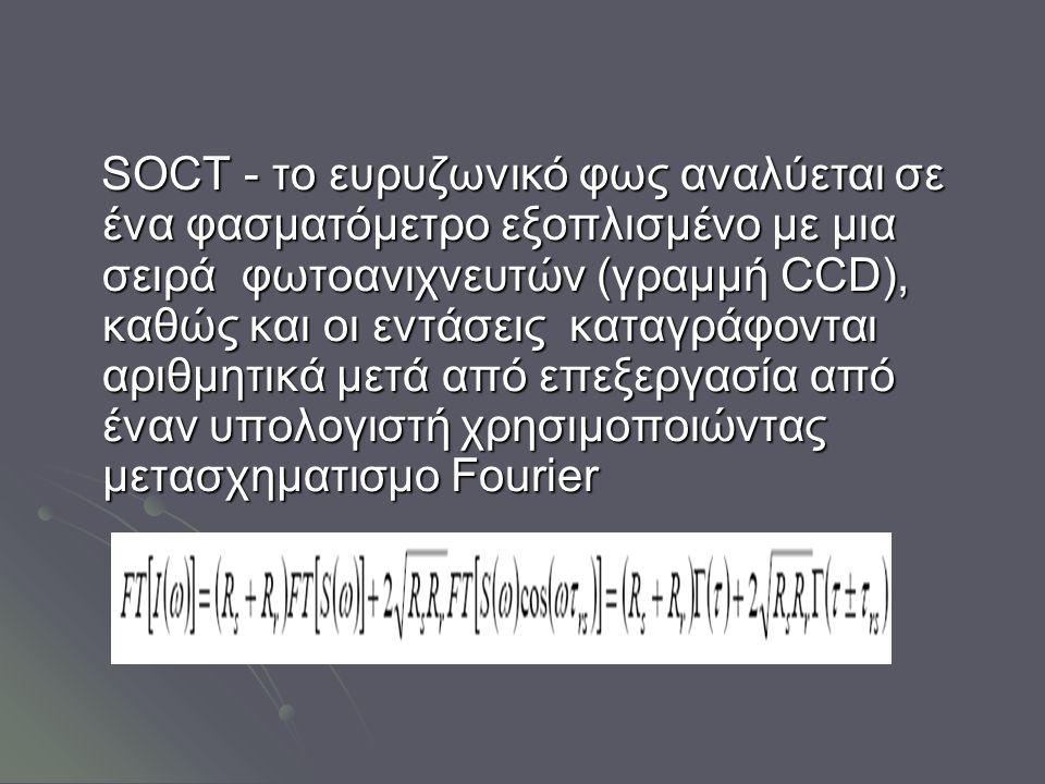 SOCT - το ευρυζωνικό φως αναλύεται σε ένα φασματόμετρο εξοπλισμένο με μια σειρά φωτοανιχνευτών (γραμμή CCD), καθώς και οι εντάσεις καταγράφονται αριθμητικά μετά από επεξεργασία από έναν υπολογιστή χρησιμοποιώντας μετασχηματισμο Fourier SOCT - το ευρυζωνικό φως αναλύεται σε ένα φασματόμετρο εξοπλισμένο με μια σειρά φωτοανιχνευτών (γραμμή CCD), καθώς και οι εντάσεις καταγράφονται αριθμητικά μετά από επεξεργασία από έναν υπολογιστή χρησιμοποιώντας μετασχηματισμο Fourier