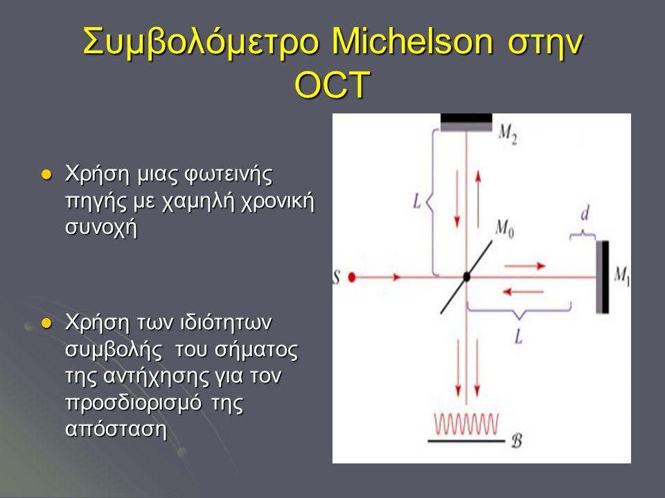 Συμβολόμετρο Michelson στην ΟCT Χρήση μιας φωτεινής πηγής με χαμηλή χρονική συνοχή Χρήση μιας φωτεινής πηγής με χαμηλή χρονική συνοχή Χρήση των ιδιότητων συμβολής του σήματος της αντήχησης για τον προσδιορισμό της απόσταση Χρήση των ιδιότητων συμβολής του σήματος της αντήχησης για τον προσδιορισμό της απόσταση