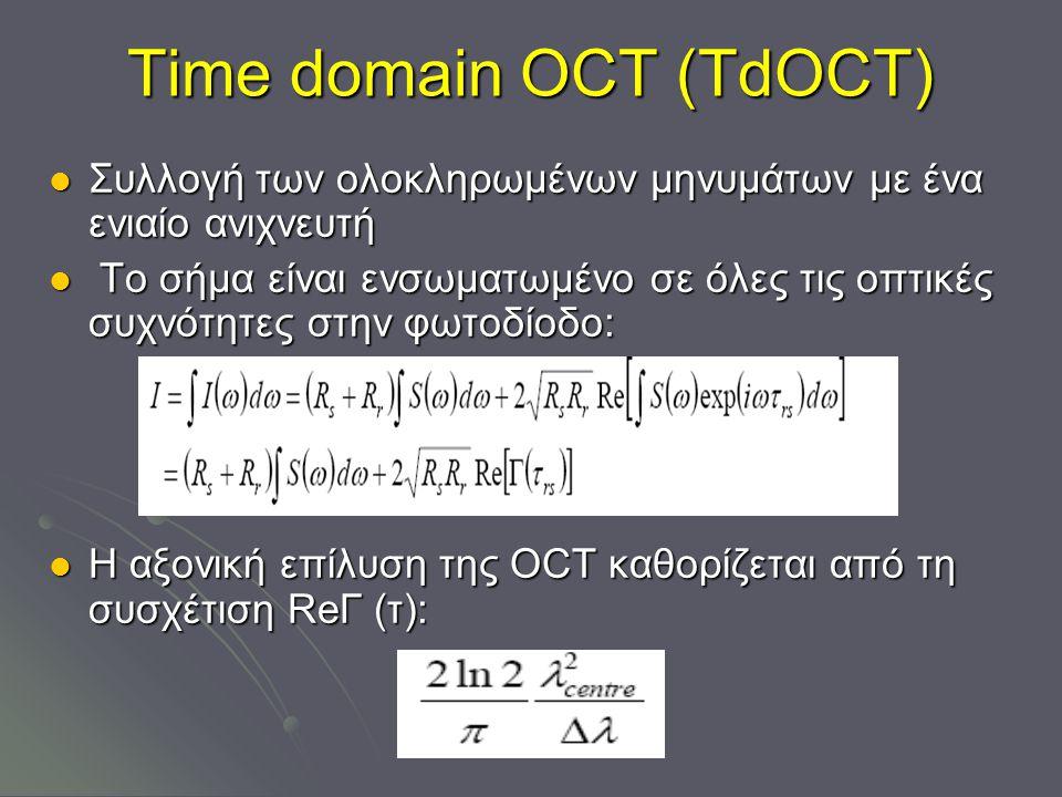 Time domain ΟCT (TdOCT) Συλλογή των ολοκληρωμένων μηνυμάτων με ένα ενιαίο ανιχνευτή Συλλογή των ολοκληρωμένων μηνυμάτων με ένα ενιαίο ανιχνευτή Το σήμα είναι ενσωματωμένο σε όλες τις οπτικές συχνότητες στην φωτοδίοδο: Το σήμα είναι ενσωματωμένο σε όλες τις οπτικές συχνότητες στην φωτοδίοδο: Η αξονική επίλυση της OCT καθορίζεται από τη συσχέτιση ReГ (τ): Η αξονική επίλυση της OCT καθορίζεται από τη συσχέτιση ReГ (τ):