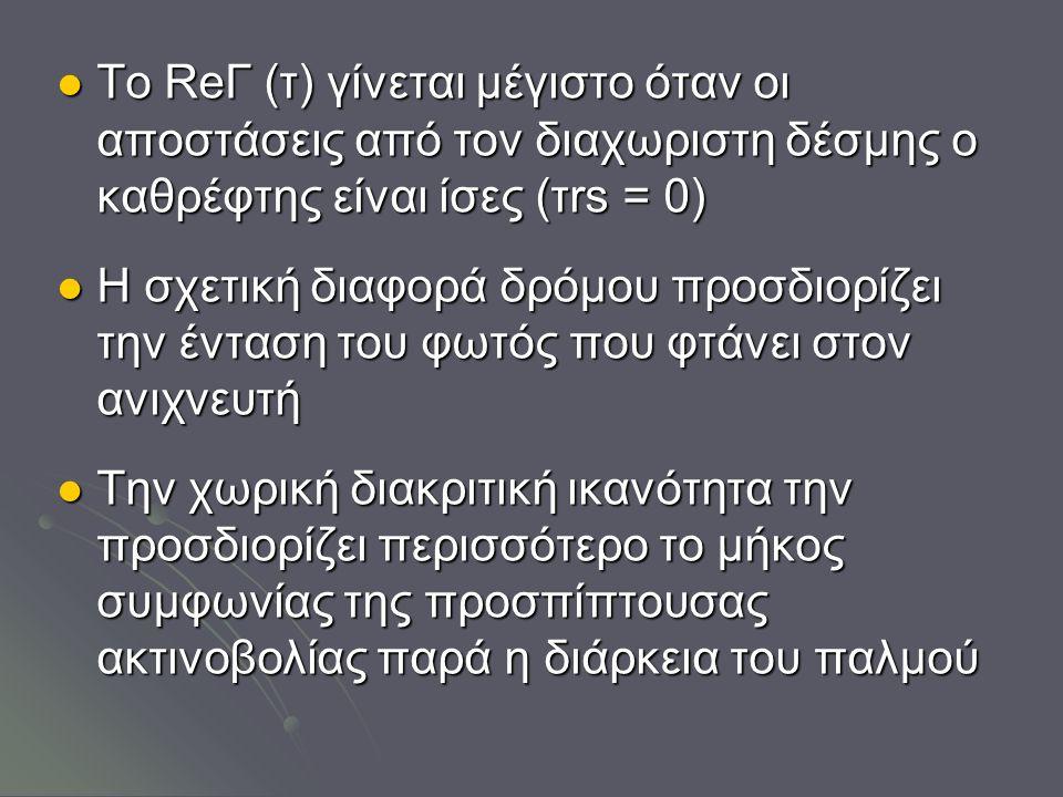 Το ReГ (τ) γίνεται μέγιστο όταν οι αποστάσεις από τον διαχωριστη δέσμης ο καθρέφτης είναι ίσες (τrs = 0) Το ReГ (τ) γίνεται μέγιστο όταν οι αποστάσεις από τον διαχωριστη δέσμης ο καθρέφτης είναι ίσες (τrs = 0) Η σχετική διαφορά δρόμου προσδιορίζει την ένταση του φωτός που φτάνει στον ανιχνευτή Η σχετική διαφορά δρόμου προσδιορίζει την ένταση του φωτός που φτάνει στον ανιχνευτή Την χωρική διακριτική ικανότητα την προσδιορίζει περισσότερο το μήκος συμφωνίας της προσπίπτουσας ακτινοβολίας παρά η διάρκεια του παλμού Την χωρική διακριτική ικανότητα την προσδιορίζει περισσότερο το μήκος συμφωνίας της προσπίπτουσας ακτινοβολίας παρά η διάρκεια του παλμού
