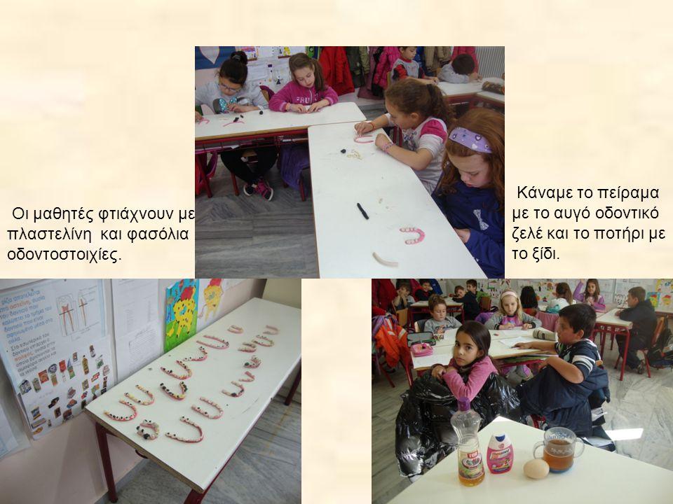 Οι μαθητές φτιάχνουν με πλαστελίνη και φασόλια οδοντοστοιχίες.