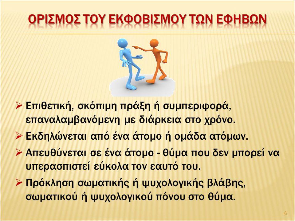  Επανάληψη – ανισορροπία σωματικής – γνωστικής – συναισθηματικής δύναμης μεταξύ θύτη - θύματος.