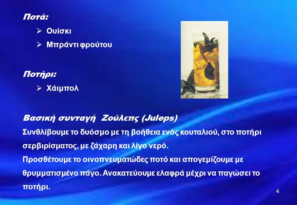 ΟΝΟΜΑ ΠΟΤΟΥ Μιντ τζούλεπ (Μint julep) ΠΟΣΟΤΗΤΕΣΠΟΤΑ \ ΥΛΙΚΑΠΑΡΑΣΚΕΥΗ ΣΕ ΠΟΤΗΡΙΓΑΡΝΙΡΙΣΜΑ ΔΙΑΚΟΣΜΗΣΗ 4 - 5 1 κτλσ 1 κτλσ 40 ML - Φύλλα φρέσκου δυόσμου - Ζάχαρη - Νερό - Μπέρπον ουίσκυ - Θρυμματισμένο πάγο ΠοτήριΧάιμπολ - Κλωνάρι και φύλλα Δυόσμου (μέντας) - Καλαμάκια ΜΕΘΟΔΟΣ ΠΑΡΑΣΚΕΥΗΣ: Βάζουμε τα υλικά σε ποτήρι με τον Θρυμματισμένο πάγο.